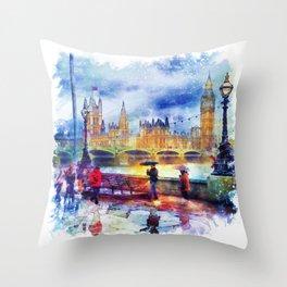 London Rain watercolor Throw Pillow
