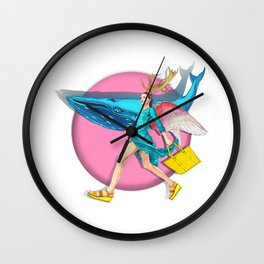 Angel and blue whale Wall Clock