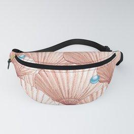 Seashell Pearl Treasure | Soft Coral + Aqua Blue Fanny Pack