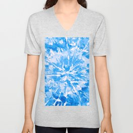 Blue Cobalt Aqua Tie-Dye Colored Pattern Design // Hand Painted Mandala Multi Media Abstract Unisex V-Neck