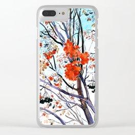 rowan tree in winter Clear iPhone Case