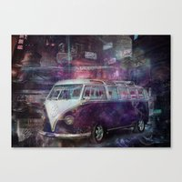 volkswagon Canvas Prints featuring Night time Camper by yairi