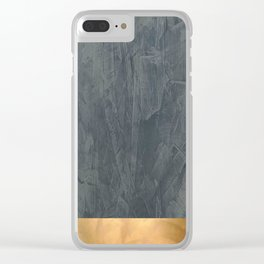 Slate Gray Stucco w Shiny Copper Metallic Trim - Faux Finishes - Rustic Glam Clear iPhone Case