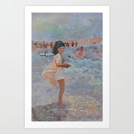Mexican Bobbie (Mom at The Beach) Art Print