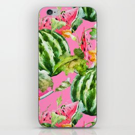 Watermelon Pattern with Pink Background iPhone Skin