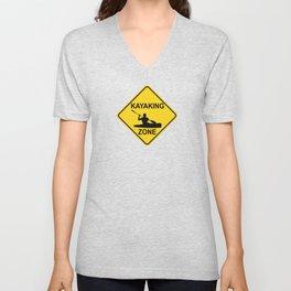 Kayaking Zone Road Sign Unisex V-Neck