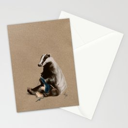 Badger Knitting a Scarf Stationery Cards