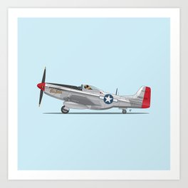 Boxer 'The Duke' flying his P-51 Mustang! -  Dogs driving things Art Print