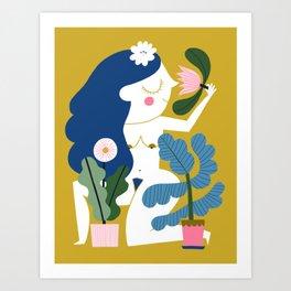 Blue Plant Lady Art Print