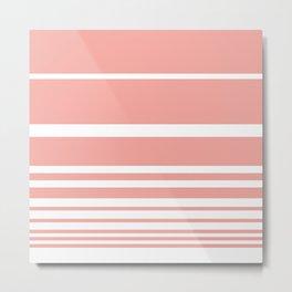 Scandi Pastel Coral Stripes Metal Print