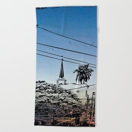 over smal trown the sunset Beach Towel