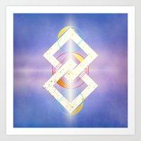 Floating Geometry :: Linked Diamonds Art Print