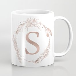Letter S Rose Gold Pink Initial Monogram Coffee Mug