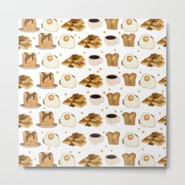 Breakfast Time Pattern on (Egg) White Metal Print