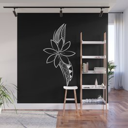 Brave Flower - Black Background Wall Mural