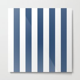 Metallic blue - solid color - white vertical lines pattern Metal Print