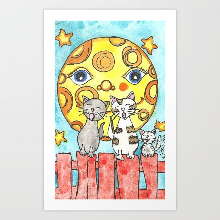 Singing Cats on the Fence Kunstdrucke