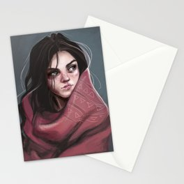 Wild Girl in the cold night Stationery Cards
