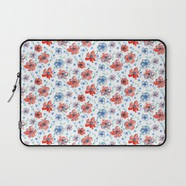 Blue and Red Floral Laptop Sleeve