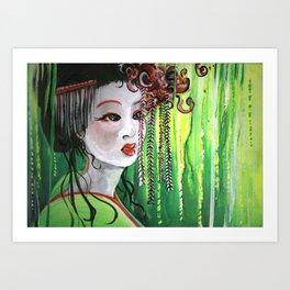 Geisha in Willows: The Arrogant Concubine Art Print