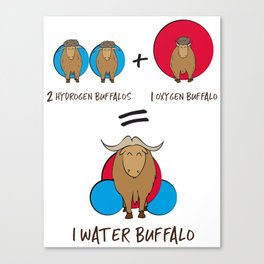 Waterbuffalo Chemical Equation - Funny Chemistry Quote Gift Canvas Print