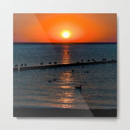 Summer Sunset on the Baltic Sea Metal Print