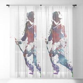Lacrosse player art 3 Sheer Curtain