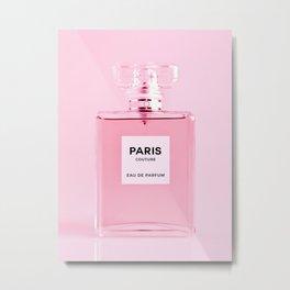 Perfume Bottle Print Pink Perfume Minimalistic Wall Art Fashion Poster Fragrance Scent Modern Decor Metal Print