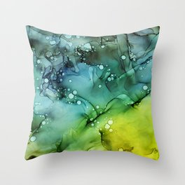 Green Blue Yellow Textures Ink Abstract Painting Throw Pillow