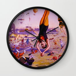 Vintage Coney Island Water Carnival Wall Clock