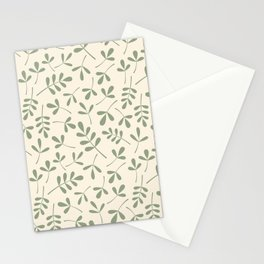 Green on Cream Assorted Leaf Silhouette Pattern Stationery Cards