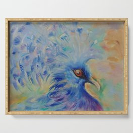 BLUE BIRD Impressionistic painting Pastel colors Serving Tray