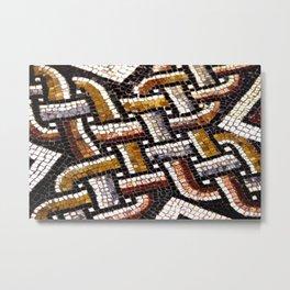 Roman Geometric Squares Tile Mosaic Pattern Metal Print