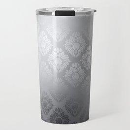 """Neutral gray Damask Pattern"" Travel Mug"