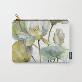 Lotus Plant and Fish Zen Design Watercolor Muted Pallet Botanical Art Carry-All Pouch