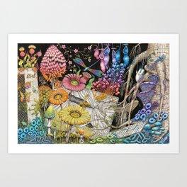 Improved Desktop - Rainbow Nature on a Broken Computer Art Print