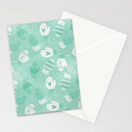 Winter Mittens Mint Stationery Cards