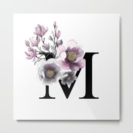 Letter 'M' Magnolia Flower Typography Metal Print