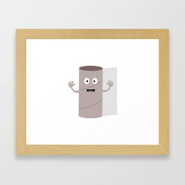 Empty Toilet paper roll with face Framed Art Print