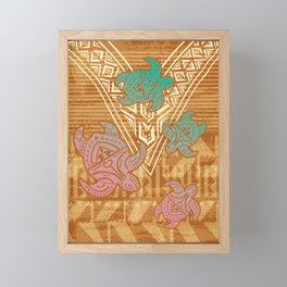 Vintage Fijian Tribal Turtle Print Framed Mini Art Print