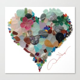 Love - Original Sea Glass Heart Leinwanddruck