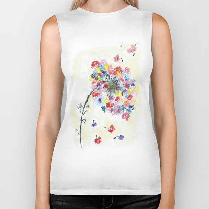 Dandelion watercolor illustration, rainbow colors, summer, free, painting Biker Tank