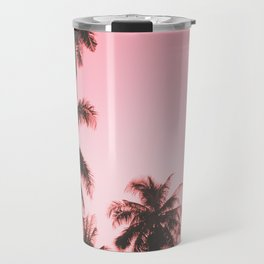 Tropical palm trees on beige pink Travel Mug