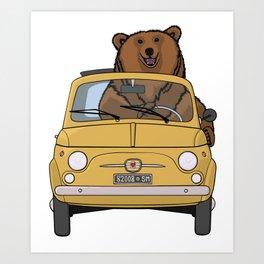 A brown bear riding a yellow convertible Art Print