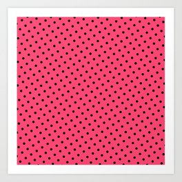 Pastel Goth Pastel Pink Retro Polka Dot (Black) Art Print