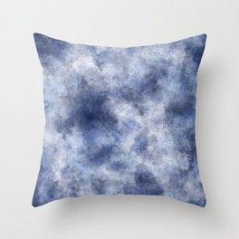 Navy Watercolor Fog Throw Pillow