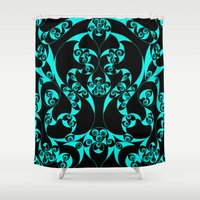 skyrim Shower Curtains featuring Celtic Loop Green by Astrablink7