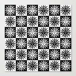 Mid Century Modern Sun Pattern Black and White Canvas Print