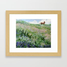 landscape. summer horse. originl oil painting Framed Art Print