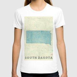 South Dakota State Map Blue Vintage T-shirt